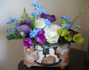 Silk Flower Arrangement, Rocking Horse, Ranunculus, Cabbage Flower, Floral Arrangement, Childrens Decor, Peony, Baby Shower Gift