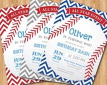 Baseball Birthday Invitation. First Birthday Baby Boy chevron invites. Gray, Blue, Red, Any Color. All Star Event. DIY digital printable