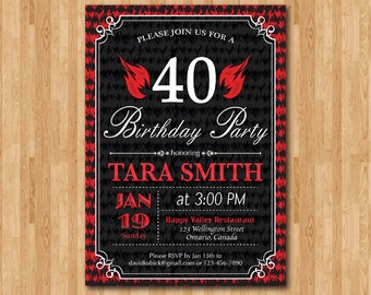 40th birthday invitation fire flames. 30th 40th 50th 60th 70th 80th 90th Any Age. Adult birthday invites. Surprise Party. Printable digital.