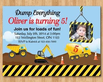 Construction, Dump Truck, Tractor Birthday Invitation. Boy Dump Truck Birthday Party Invite with custom photo.  Printable digital DIY.