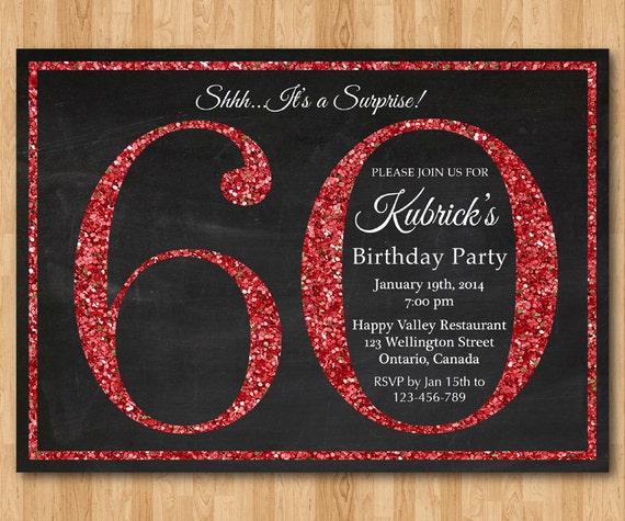 Favoloso invito compleanno 60 . Invito festa di compleanno Glitter NB05