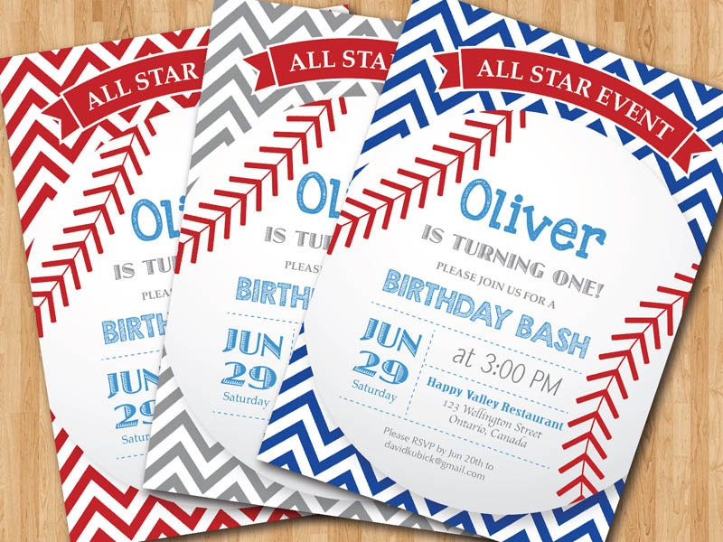baseball birthday invitation  first birthday baby boy chevron