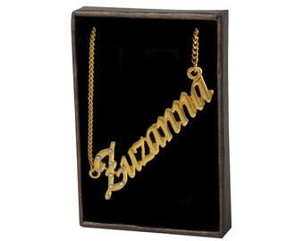 Name Necklace Zuzanna - Gold Plated 18ct Personalised Necklace with Czech Rhinestones