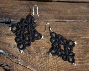 Handmade Tatting Earrings, cotton, black
