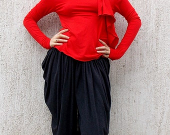 Wool Harem Pants / Anthracite Wool Viscose Pants TP02