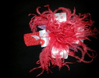 Baby Girl Bow, Large Hair Bow, Feather Hair Bow With Matching Headband, Red and White with Hearts, READY To Ship