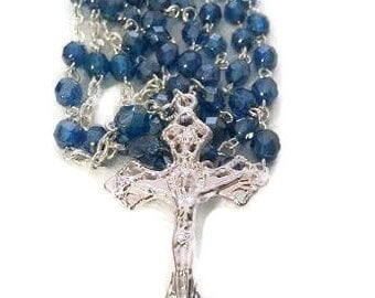 Capri Blue Czech Crystal Rosary