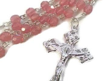 Pink Opal Czech Glass Rosary