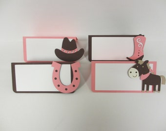 Cowgirl Western Food Tents Buffet / Place Cards Birthday Party Horse Pony Pink Brown Set of 6