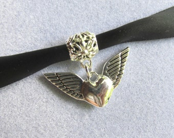Heart Wings Necklace,  Black Satin Ribbon Choker, Puff Heart With Wings, Decorative Charm Pendant, Heaven Bound Heart, Higher Goal Oriented