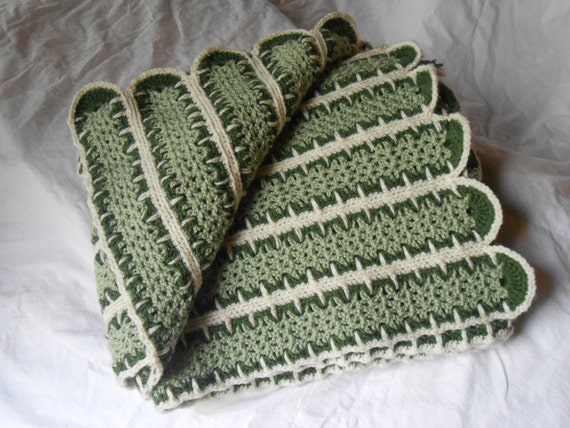 Items similar to Crochet --Mile a Minute-- Afghan two tone green and ...
