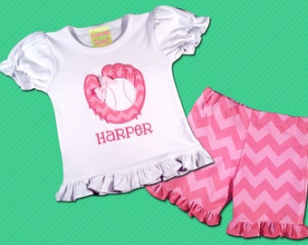Girl Baseball Shirt with Glove and Chevron Ruffle Shorts