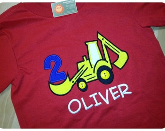 Birthday Construction Shirt with Digger, Button Wheels and Embroidered Name