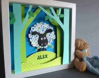 Personalised Baby Kids Children's picture - Sheep 3D Framed Handmade Paper Artwork