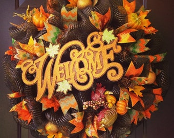 Brown Deco Mesh Fall Welcome Wreath with Leaves, Pumpkins, and Ornaments