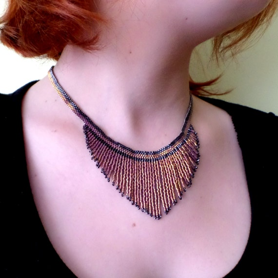 Charleston Gold Necklace (1920/Delicas/Beads/Gold/Fringes)