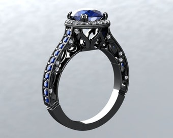 Sapphire VVS 1.40ct 14ktGold Black Gold Sapphire and White Diamond Accent Engagement Ring Crowned Love Inspired LSNDBG1