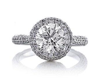 Moissanite Engagement Setting 1.27ct Natural Diamonds 1.20ct Forever One Moissanite Wedding Ring Diamond Halo Ring Pristine Custom Rings
