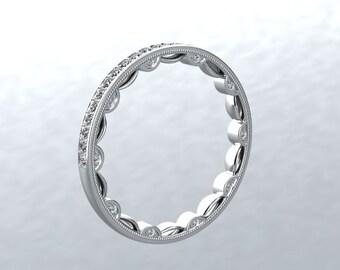 Diamond Wedding Band Round Genuine Diamonds Eternity Wedding Ring Wedding Band Anniversary Ring Engagement Modern Chic Love Inspired