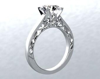 Moissanite Solitaire Engagement Ring 1.0ct Forever One  Engagement Ring 14k White Gold Wedding Ring Anniversary Ring Pristine Custom Rings