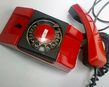 20 Off Vintage Red Rotary Telephone Red Dial Phone