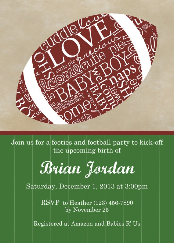 football themed baby shower invitation digital file