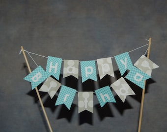 """Cake Bunting, Happy Birthday, """"Teen"""" Gray & Teal, Cake Topper, Paper banner"""
