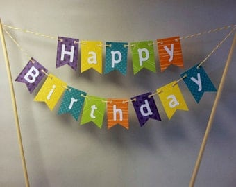 "Cake Bunting, ""Summer"", Happy Birthday, Cake Topper, Paper banner"