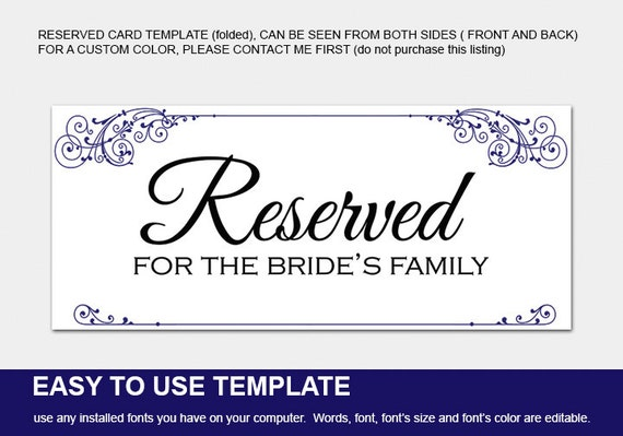 Items Similar To Reserved Signs For Wedding