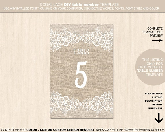 burlap flower template - burlap flower lace table numbers template wedding table card