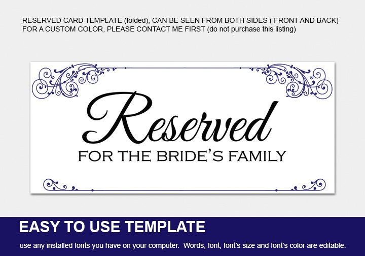 reserved cards for tables templates - 28 images - reserved table ...