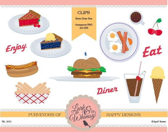 Items similar to All American Diner Food Clipart · Digital ...  Retro Clip Art Food