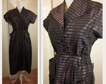 Stunning 1950's Structured Wiggle Dress - Amazing tailoring - Mad Men - vlv  - M/L