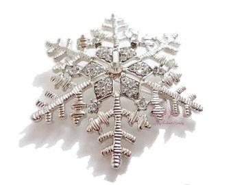 Snowflake Brooch, Christmas Snowflake Brooch Silver Crystal, BR0014
