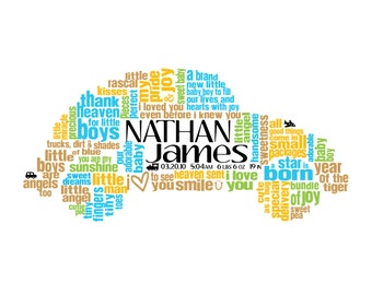 Personalized Baby Boy Car Word Art For Nursery