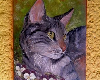 Cat - Unique Ceramic Painting