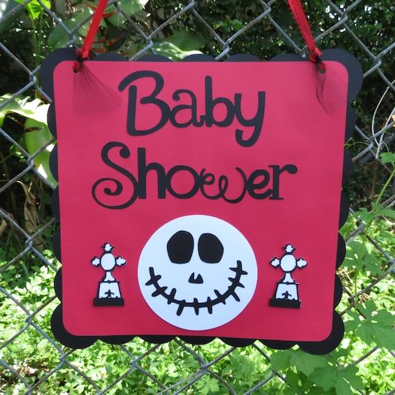 jack skellington inspired baby shower red black door sign
