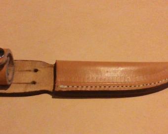 Hand-made leather sheath knife