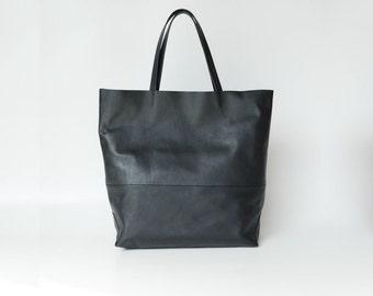 Tote bag / leather bag / black leather bag / leather bag tote bag