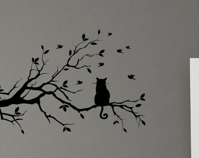 Cat in a tree bird kitty leaf branch Wall Decal Mural Vinyl sticker no edges look like paint in your wall