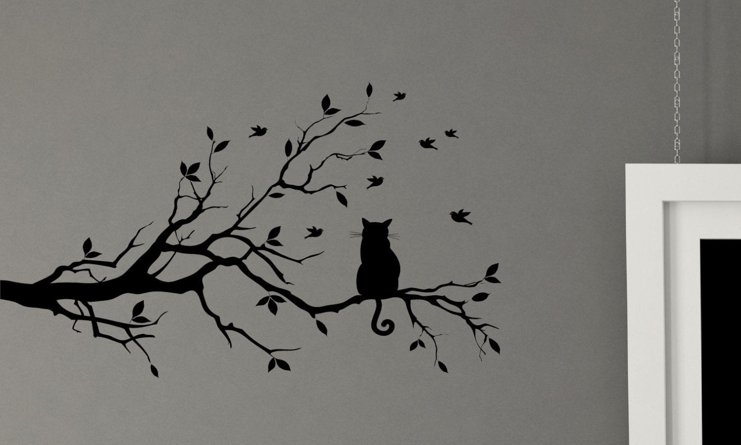 Cat In A Tree Bird Kitty Leaf Branch Wall Decal Mural Vinyl