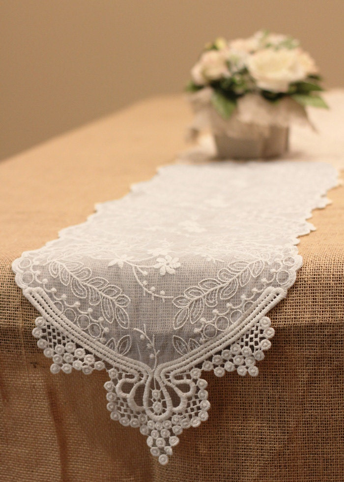 Floral lace table runner dining 12 inch 6 feet for 12 ft table runner