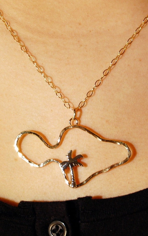 Items similar to Hawaiian  islands  outline pendant  palm tree