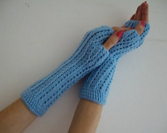 Elegant blue Crochet Fingerless Gloves,SALE WINTER Gloves fingerless gloves Hand knit croche gloves