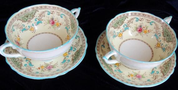 image vintage soup cups bowls plates paragon floral flower blue