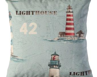 Lighthouse Pillow cover, lighthouses cushion, lighthouses pad, nautical decor, beach decor, boat decor, sailing ship decor, sailor gift.
