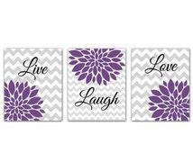 Purple Live Laugh Love Flower Bursts Set Gray Chevron Prints Wall Art Room Decor Nursery Room Art for Kids Room 3-8x10 (164abc)