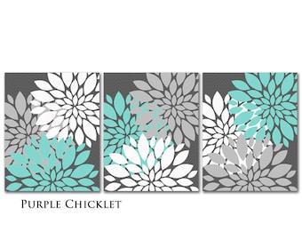 Egg Blue Gray White Flower Burst Wall Art Chevron Botanical Art SET of 3 - 8x10 Prints for Girls Nursery Wall Art Gray Bedroom Decor 217
