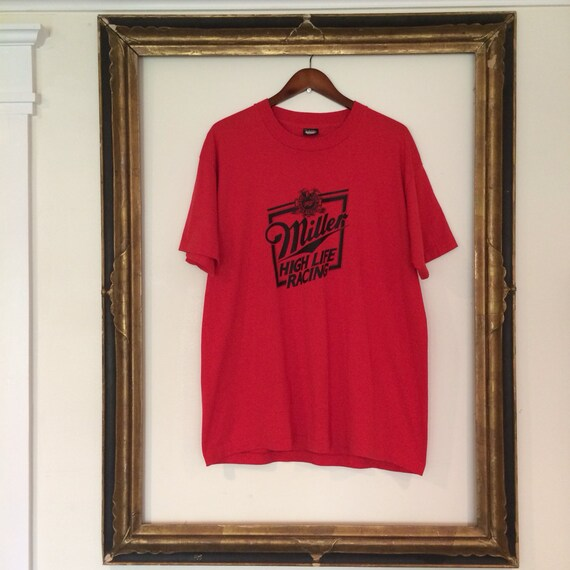 Vintage Red Miller High Life Beer T Shirt By Shopkingdude