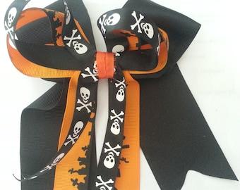Halloween- Skulls and Graveyard Halloween Hair Bow- Orange and Black Hair Bow- Skull Hair Bows- Graveyard Hair Bows- Halloween Hair Bows